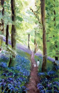 "Bluebells in Middleton Woods - £200  (11.5""x18"")"