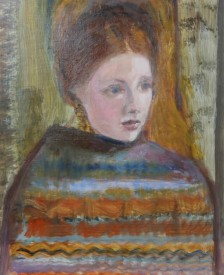 "The Knitted Shawl - £150 (12""x14.5"")"